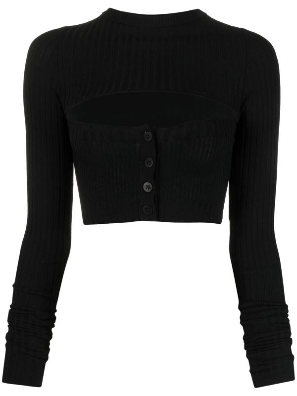 Adamo Viscose Blend Rib Knit Cut Out Top In Black