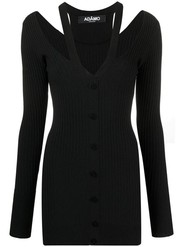 Adamo Viscose Blend Rib  Knit Mini Dress In Black