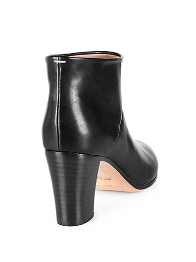 Maison Margiela Leather Stacked-Heel Booties In Black