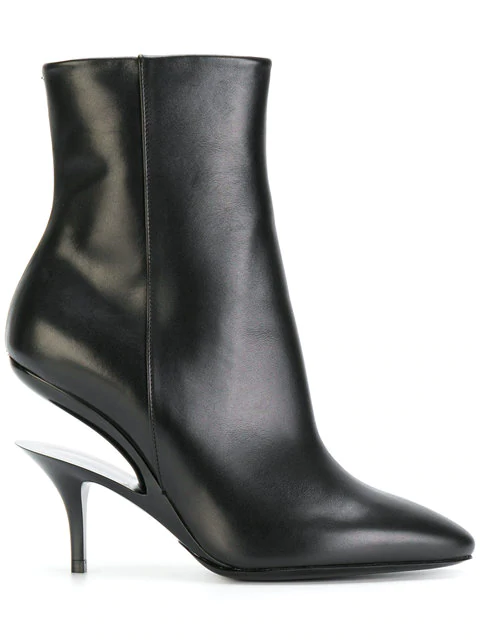 Maison Margiela Suspended-Heel Leather Ankle Boots In 961 Black