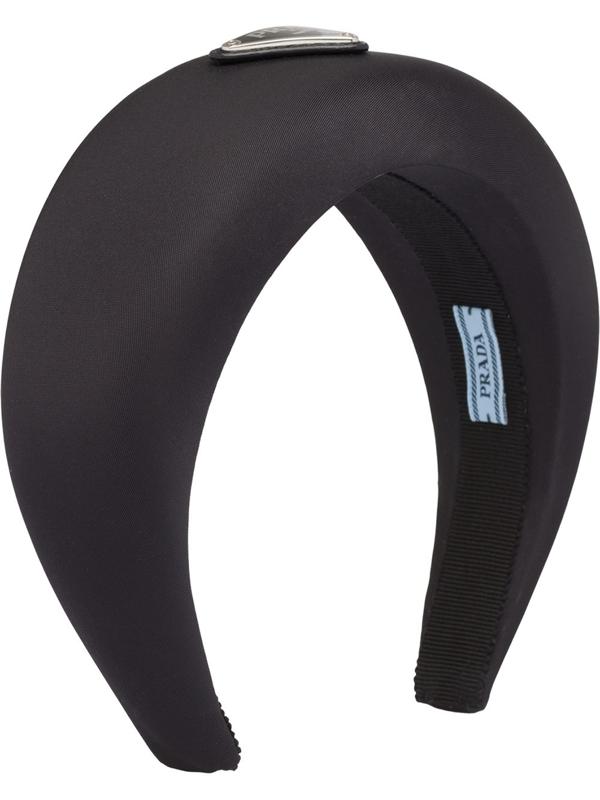 Prada Triangle Logo Nylon Headband In Black