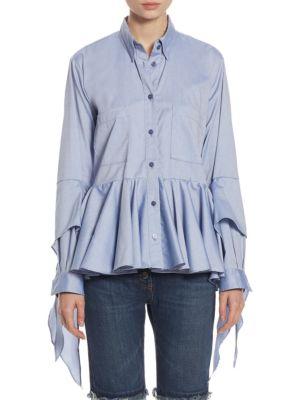 98405b39 Each X Other Ruffled Cotton Poplin Shirt In Sky Blue   ModeSens