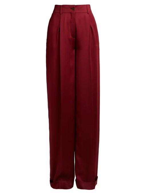 Valentino High-Rise Wide-Leg Silk-Satin Trousers In Burgundy