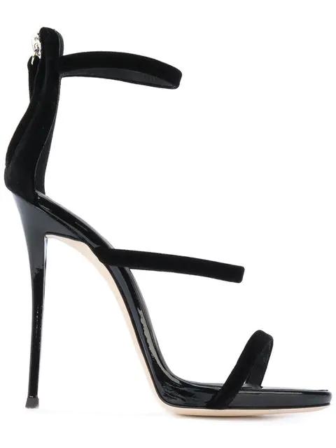 Giuseppe Zanotti Coline Velvet & Patent Leather Sandals In Black