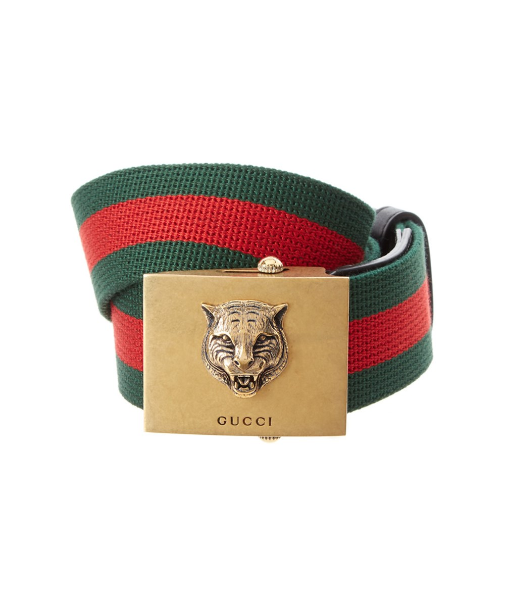 1f6a974c5d23 Gucci Canvas Web Belt With Feline Head  In Multi