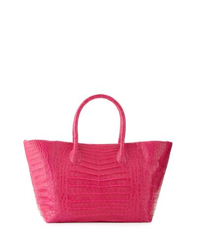 Nancy Gonzalez Crocodile Small Convertible Tote Bag, Pink Matte