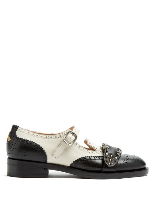 2897a07f9 Gucci Queercore Brogue Monk Shoes In Black White | ModeSens