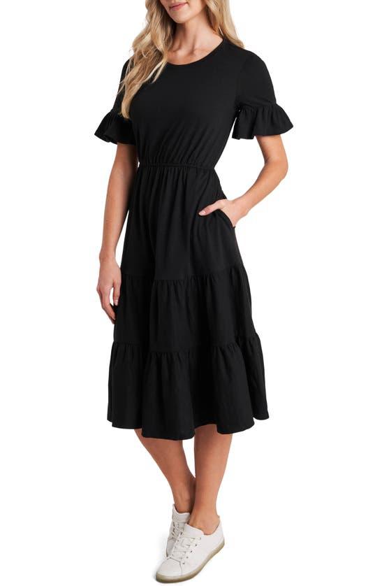 Cece Ruffle Knit Midi Dress In Rich Black