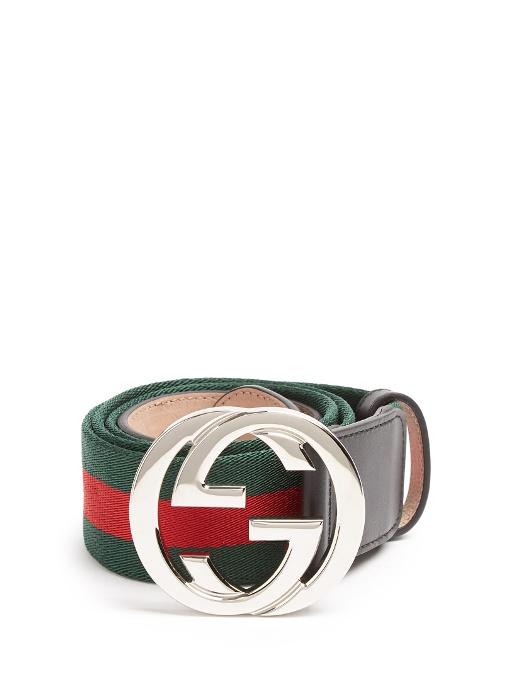 b1bd381a1de Gucci Gg-Buckle Canvas Belt In Multi