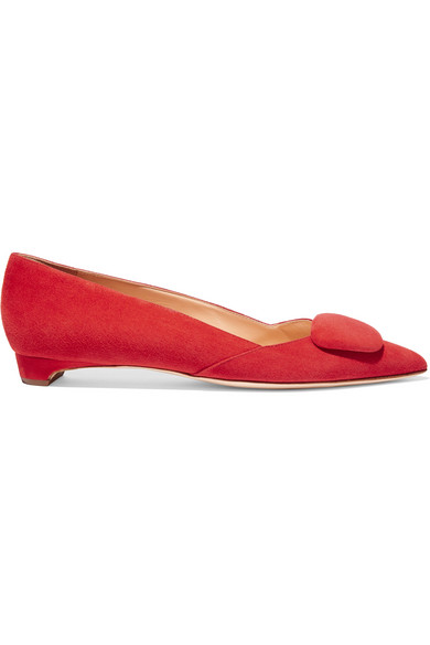 Rupert Sanderson Aga Point-toe Suede Flats In Red