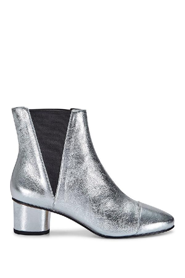 Rebecca Minkoff Izette Patent Leather Bootie In Silver