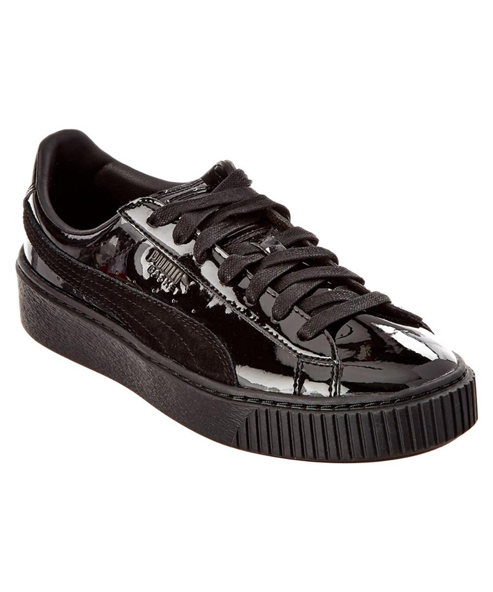 new arrival ffec3 145b6 Puma Women's Basket Patent Leather Sneaker in Black