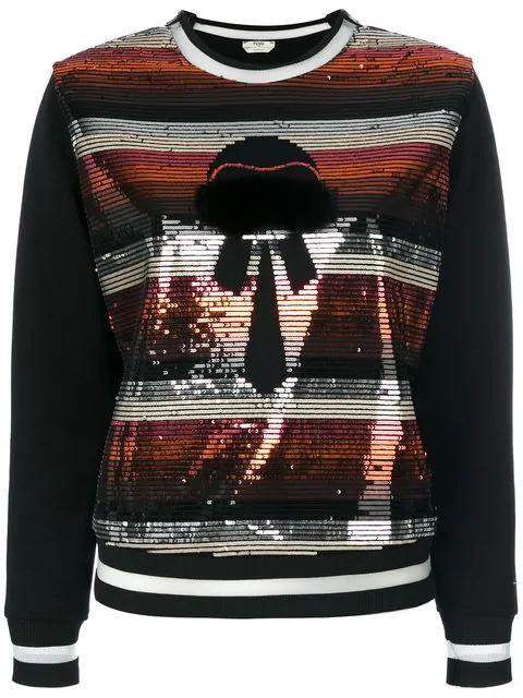Fendi Sweatshirt With Sequins In Black