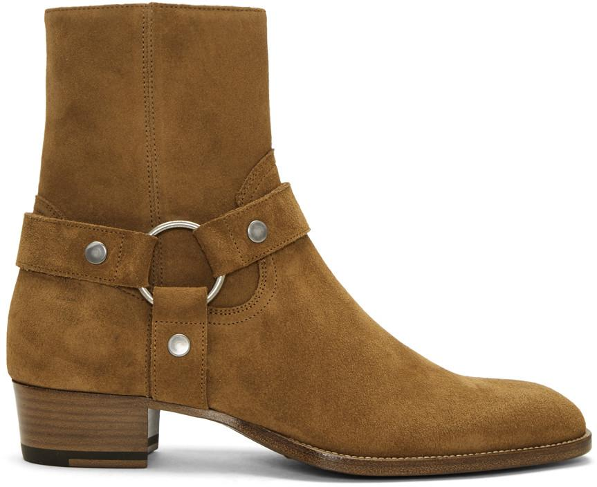 b57f9c23eab Saint Laurent Tan Suede Wyatt Harness Boots in 2536 Fox
