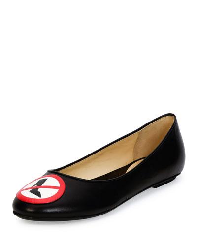 Moschino No Heels Leather Ballerina Flat, Black