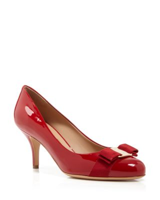 Salvatore Ferragamo Mid Heel Pumps In Rosso/Gold