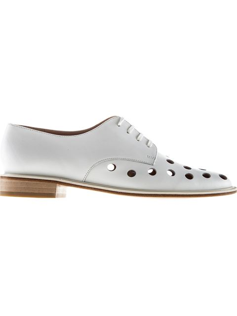 Robert Clergerie Punch Hole Lace-Up Shoes In White