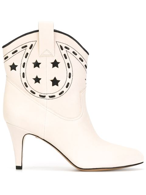 Marc Jacobs Georgia Metallic Leather Cowboy Boots In Ivory