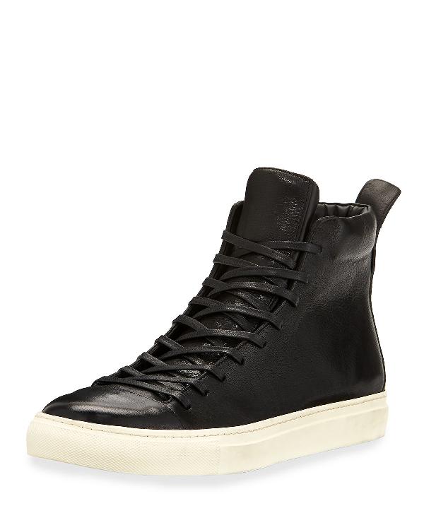 John Varvatos Men's 315 Reed Leather Mid-Top Sneakers In Black