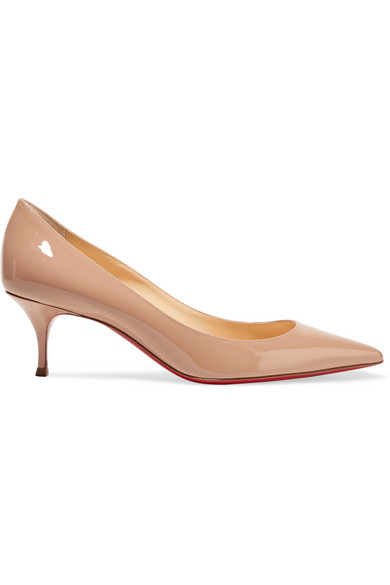 Christian Louboutin Pigalle Follies 55Mm Patent Red Sole Pump, Nude In Beige