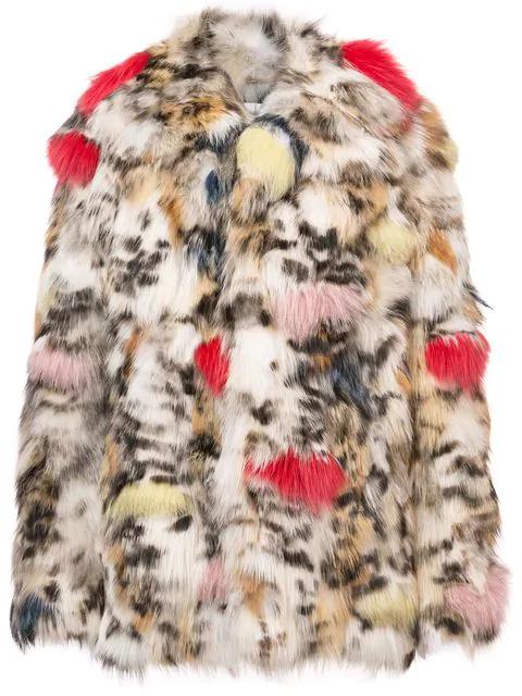 Saint Laurent Color-Splashed Fox Fur Coat In Neutrals