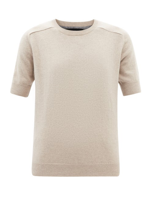 Lisa Yang Kenza Short-sleeved Cashmere Sweater In Beige