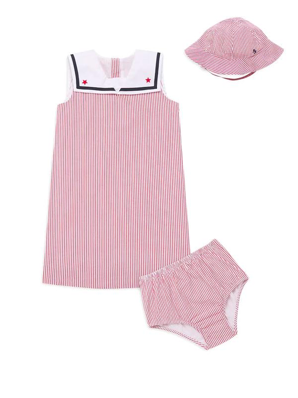 Ralph Lauren Baby Girl's 3-piece Seersucker Dress, Hat, & Bloomers Set In Pink