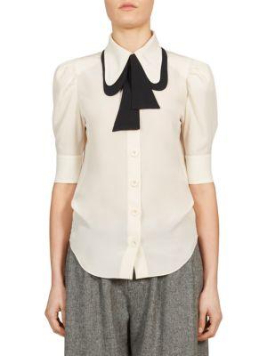 ChloÉ Contrast Tie-neck Silk Shirt, White/black