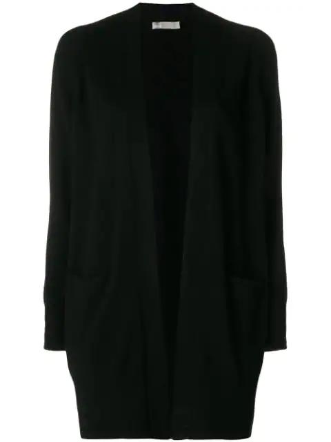 Vince Cashmere Raglan Sleeve Cardigan Sweater In Black