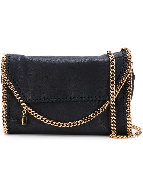 Stella Mccartney 'falabella' Mini Shaggy Deer Crossbody Chain Bag In Black