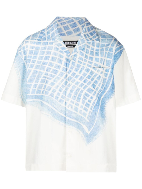Jacquemus La Chemise Jean Cotton And Linen Shirt With Print In White