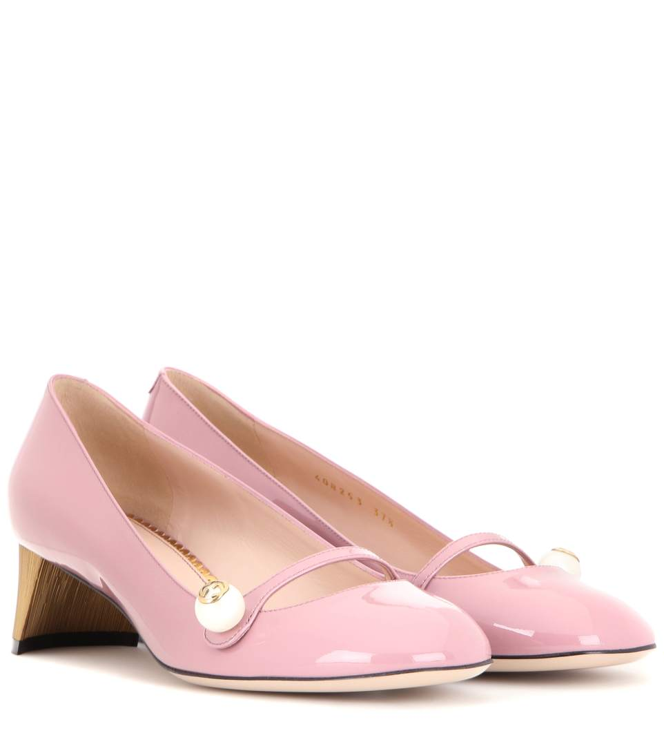 Gucci Arielle Embellished Patent Leather Pumps In Pink