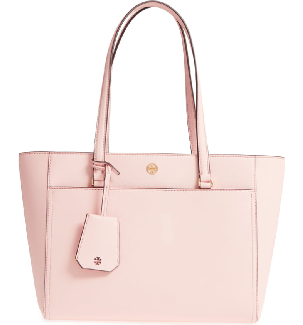 a591d80f384 Tory Burch Robinson Small Saffiano Leather Zip-Top Shoulder Tote Bag In  Pale Apricot /
