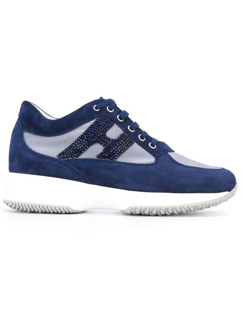 Hogan Women's Shoes Suede Trainers Sneakers Interactive H Strass In Blue