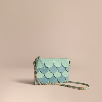 dcc74093a7d Burberry Two-Tone Scalloped Leather And Suede Clutch Bag In Celadon Green