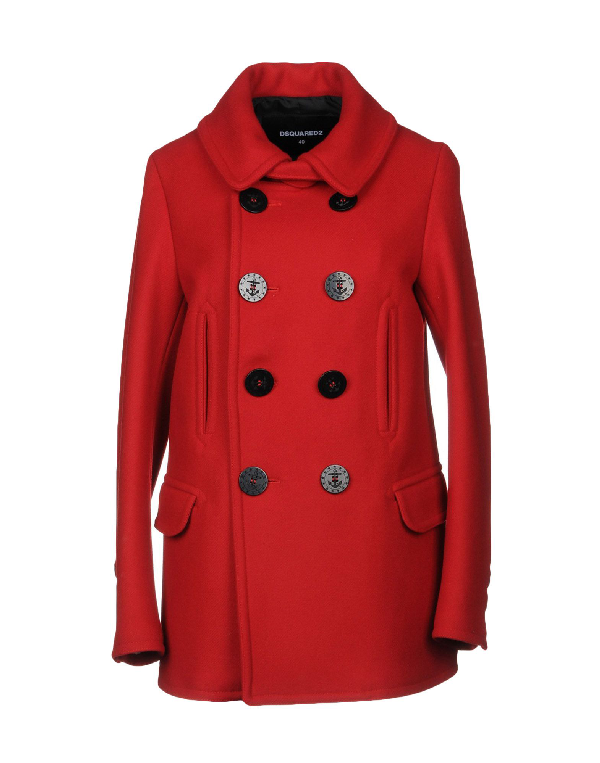 Dsquared2 Anchor Detail Buttoned Coat In Red