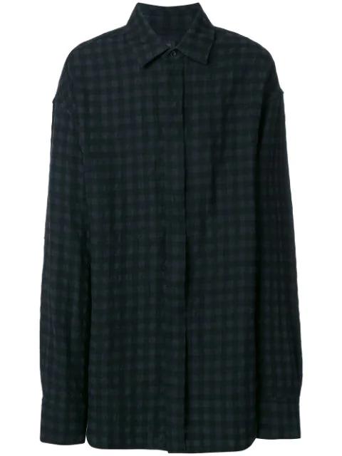 Ann Demeulemeester Black Wool Check Shirt
