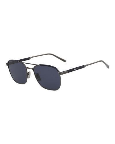 749e3b2c95bb Salvatore Ferragamo Men's Signature Navigator Sunglasses In Blue ...