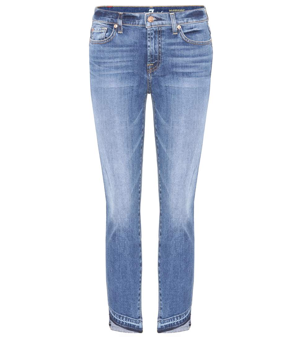 7 For All Mankind Roxanne Cropped Mid-Rise Jeans In Blue