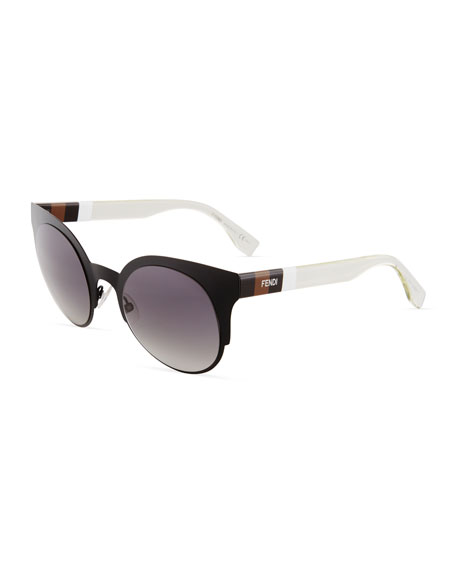 Fendi Round Plastic/Metal Sunglasses In Black