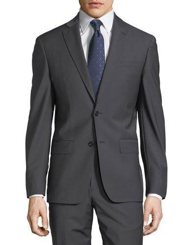 John Varvatos Plain Two-Button Wool-Blend Suit In Gray