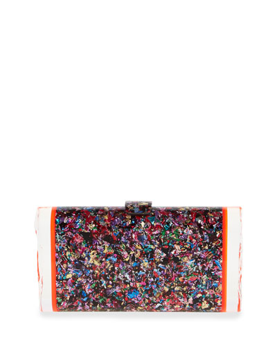 Edie Parker Lara Confetti Acrylic Backlit Clutch Bag, Multi In Rainbow Confetti & Red Fluorescent