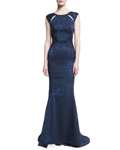 Zac Posen Floral Jacquard Cutout-Shoulder Gown In Navy/Twighlight