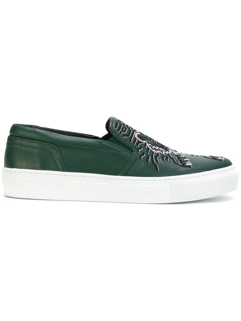 Kenzo 20Mm Geo Tiger Leather Slip-On Sneakers In Green