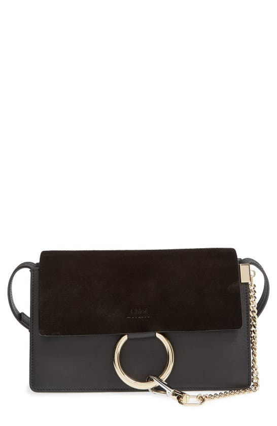 Chloé Small Faye Leather & Suede Shoulder Bag In Black