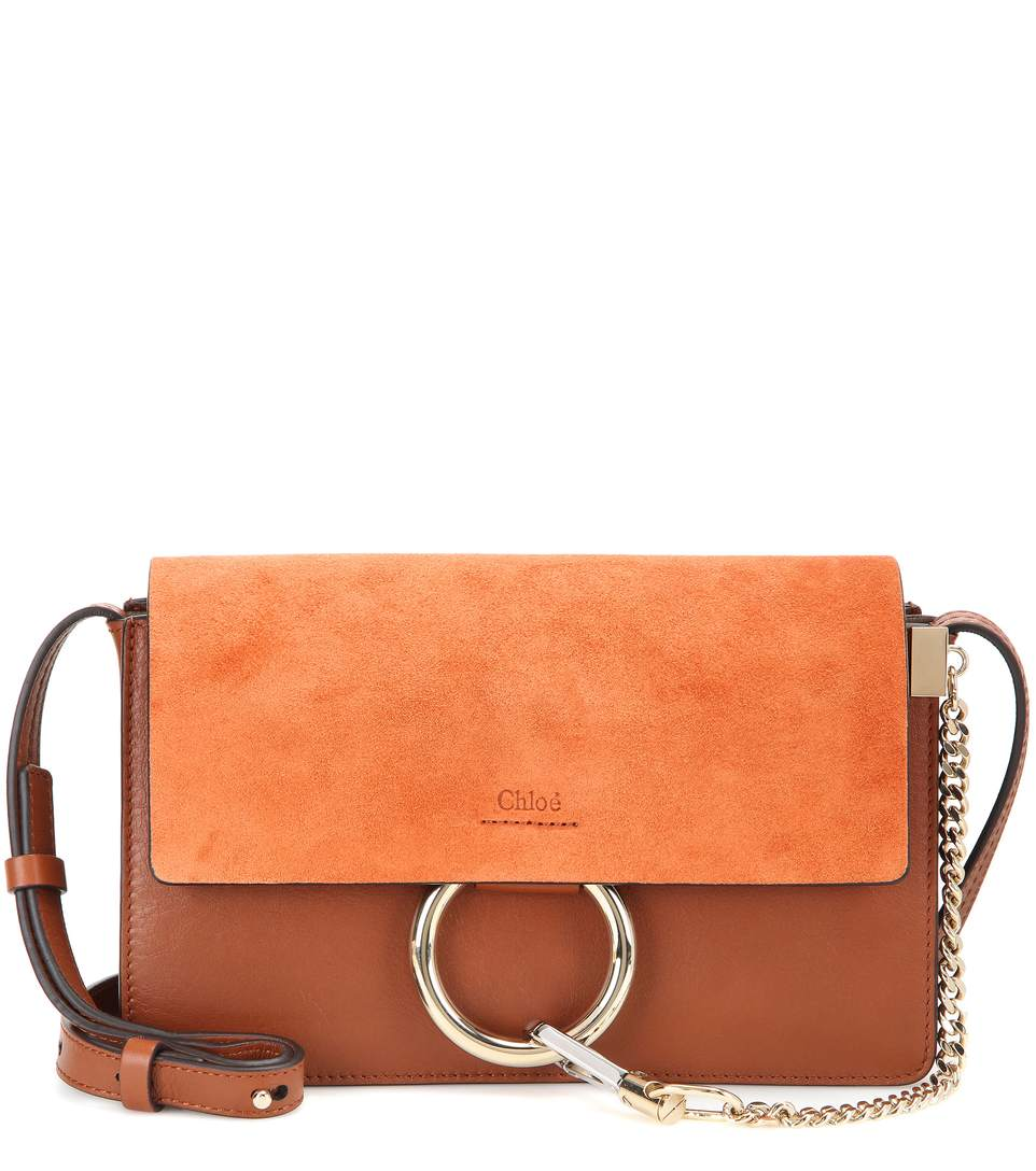 ChloÉ 'Faye' Small Suede Flap Leather Crossbody Bag In Brown