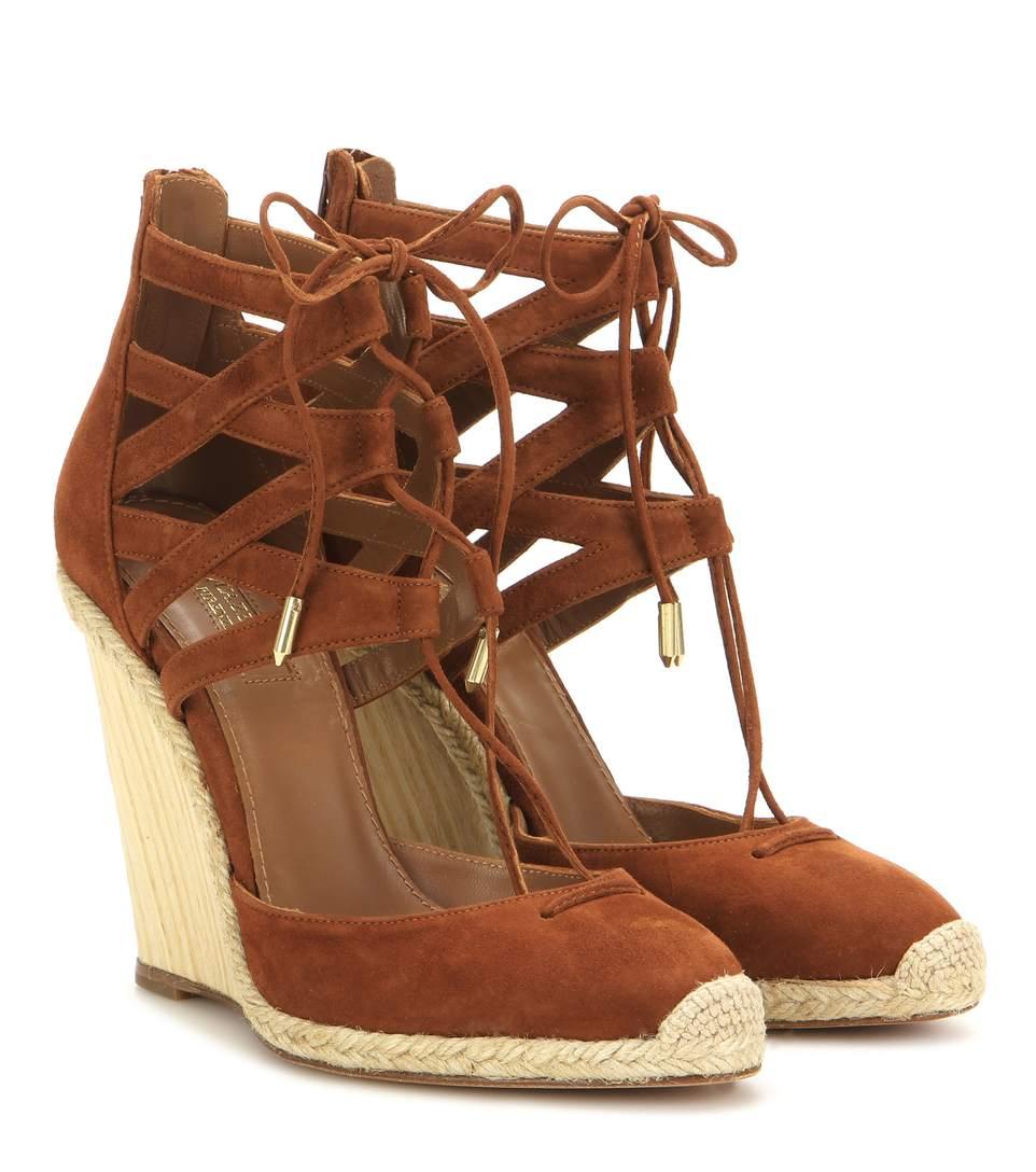 Aquazzura Belgravia 110 Suede Wedge Sandals In Luggage