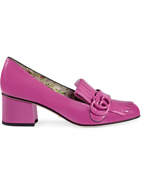 Gucci Marmont Patent Leather Mid-heel Pump In Candy Pink