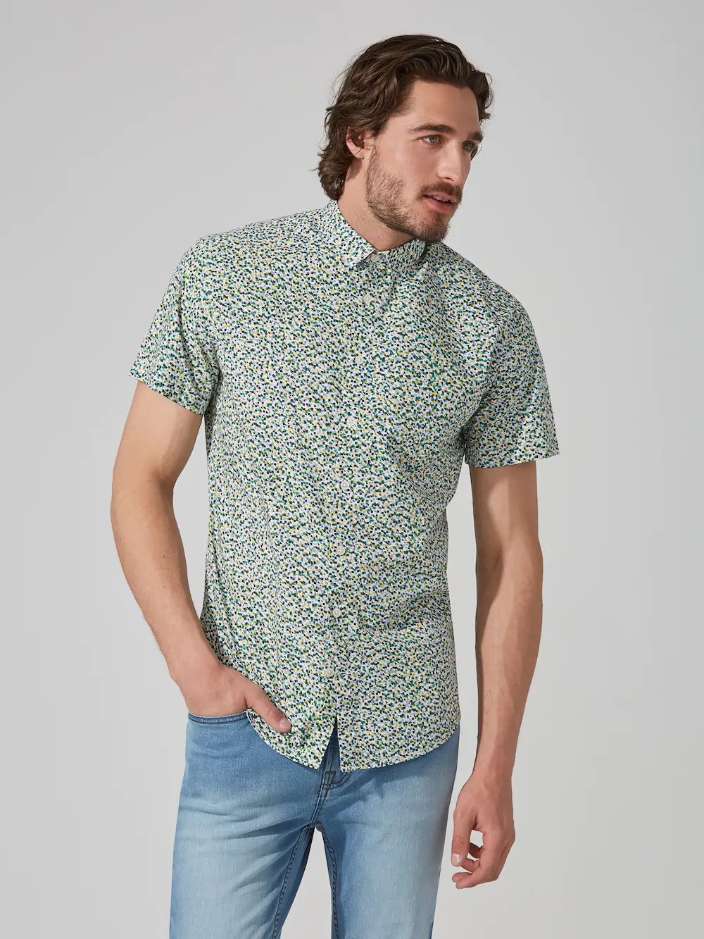 Frank + Oak 90s Geo-print Poplin Cotton Shirt
