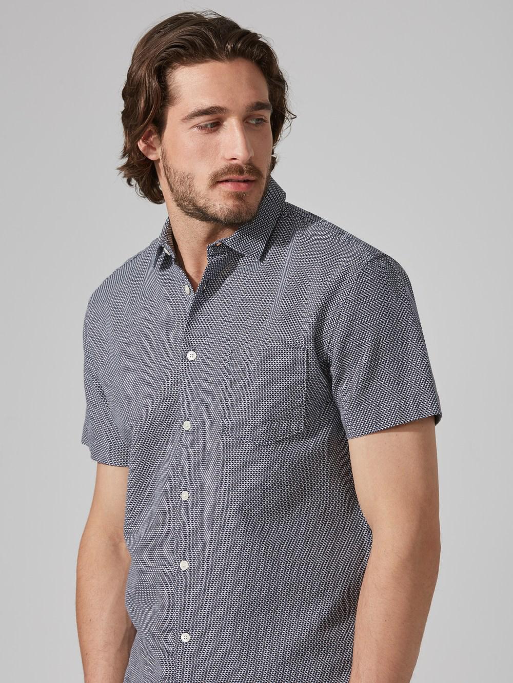 Frank + Oak Jacquard-cotton Short-sleeve Shirt In Navy